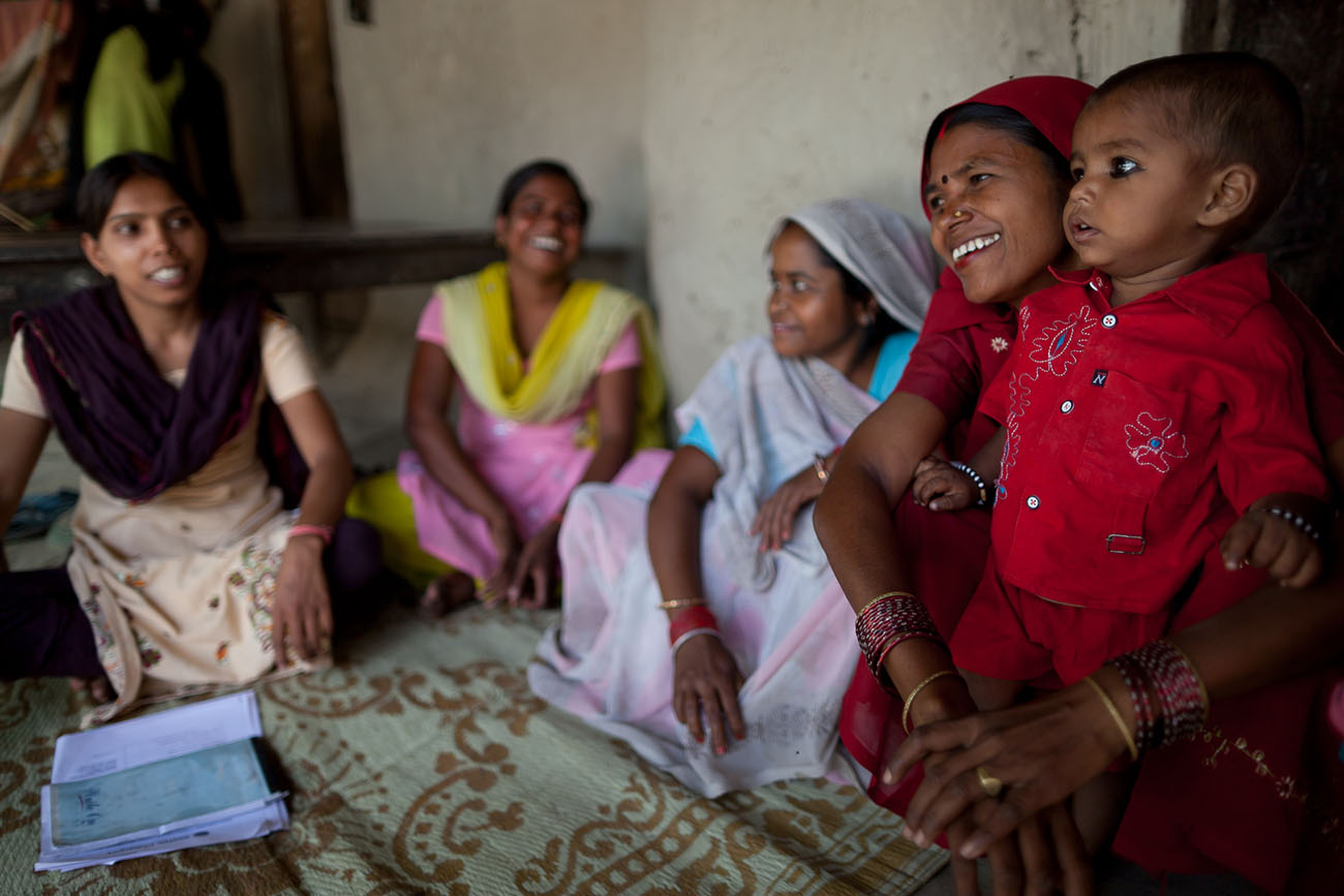 In India, women are happy to receive maternal healthcare services.