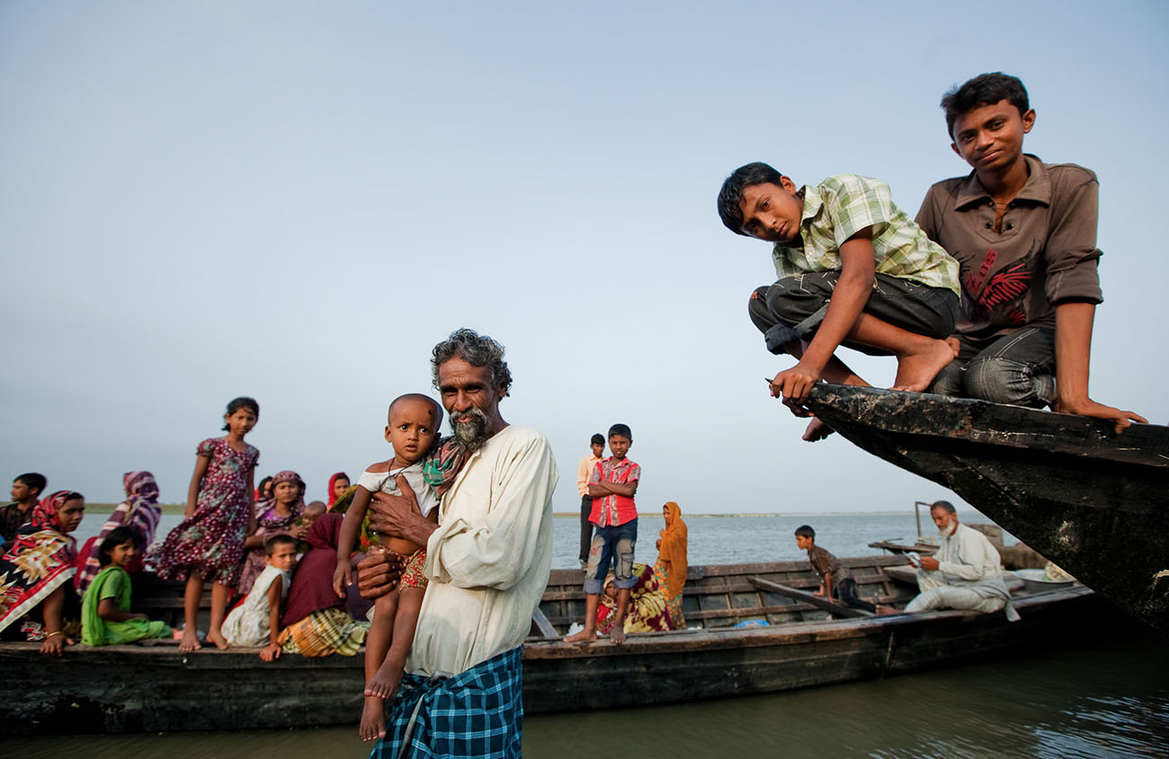 People on boats in Bangladesh.
