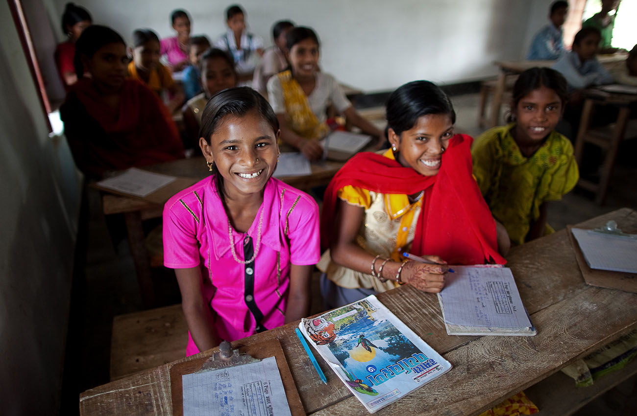 Girls and boys are separated in this small school in rural India.