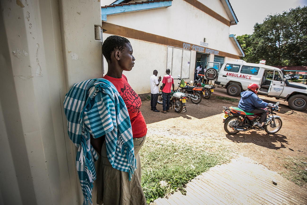 A pregnant woman waits to be examined at a clinic in rural Kenya.