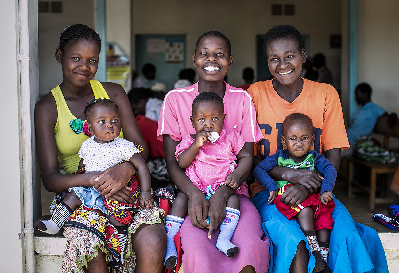 Mothers and their children wait for their check ups in a clinic in rural Kenya.